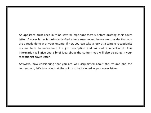 example of cover letter for receptionist - Eczasolinf
