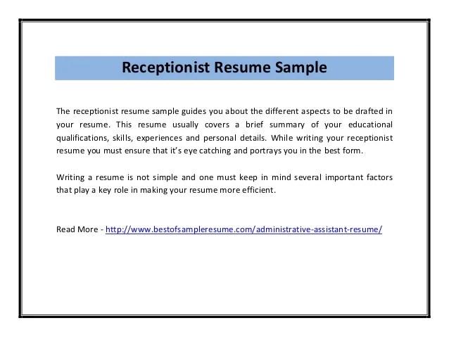 skills for receptionist resume - Onwebioinnovate - skills for receptionist resume