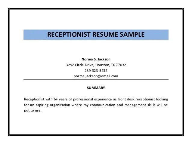 resume summary statement examples receptionist