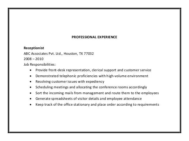 reception job description resume anuvratinfo – Front Desk Job Description