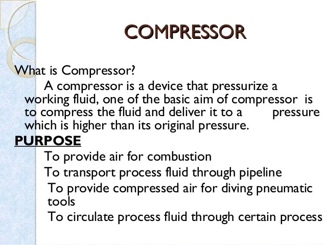 Reciprocating Compressor And Pumps