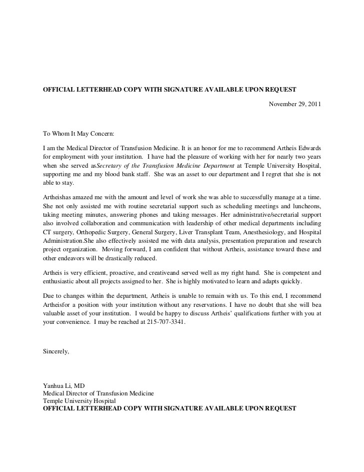 Recommendation Letter For Employee Performance Letters Of Recommendation Recommendation Letter For Artheis Yl