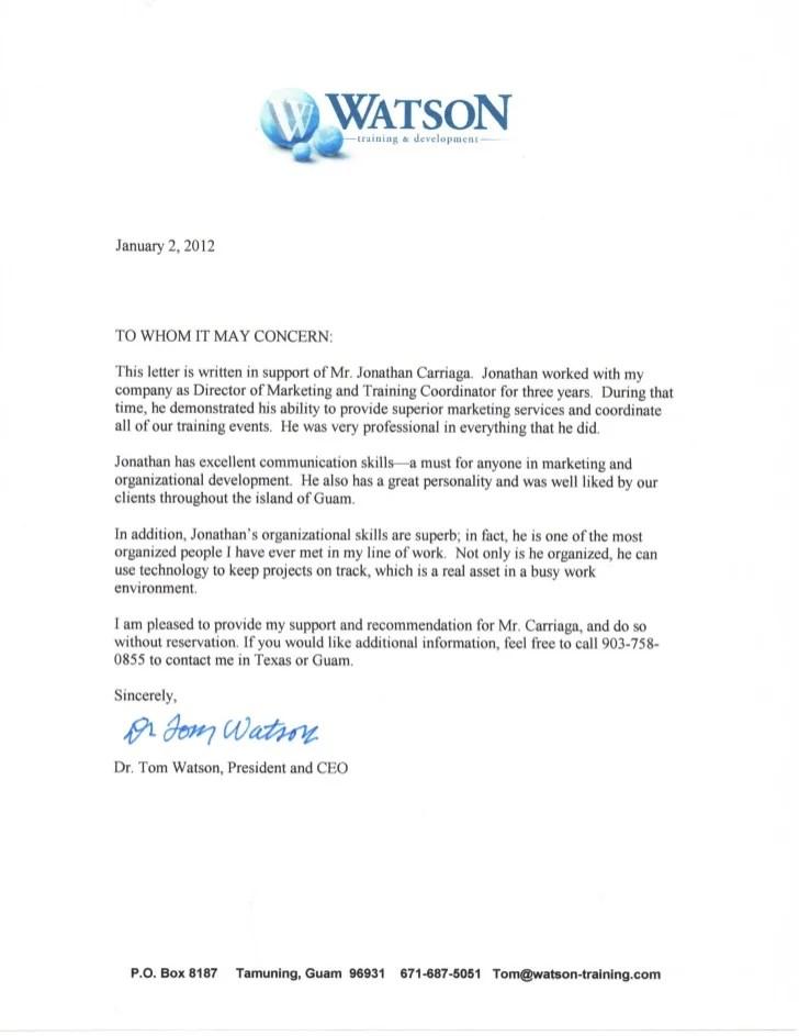 linkedin recommendation letter