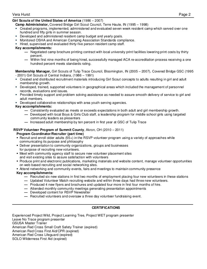 recreation resume - Eczasolinf