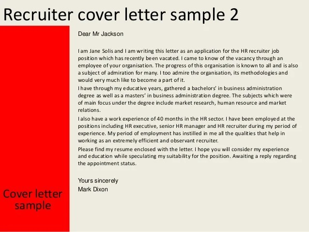 Cover letter template for recruiters