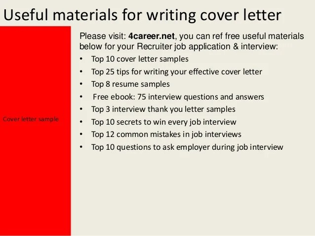 recruitment cover letter sample - Jolivibramusic - recruiter cover letter