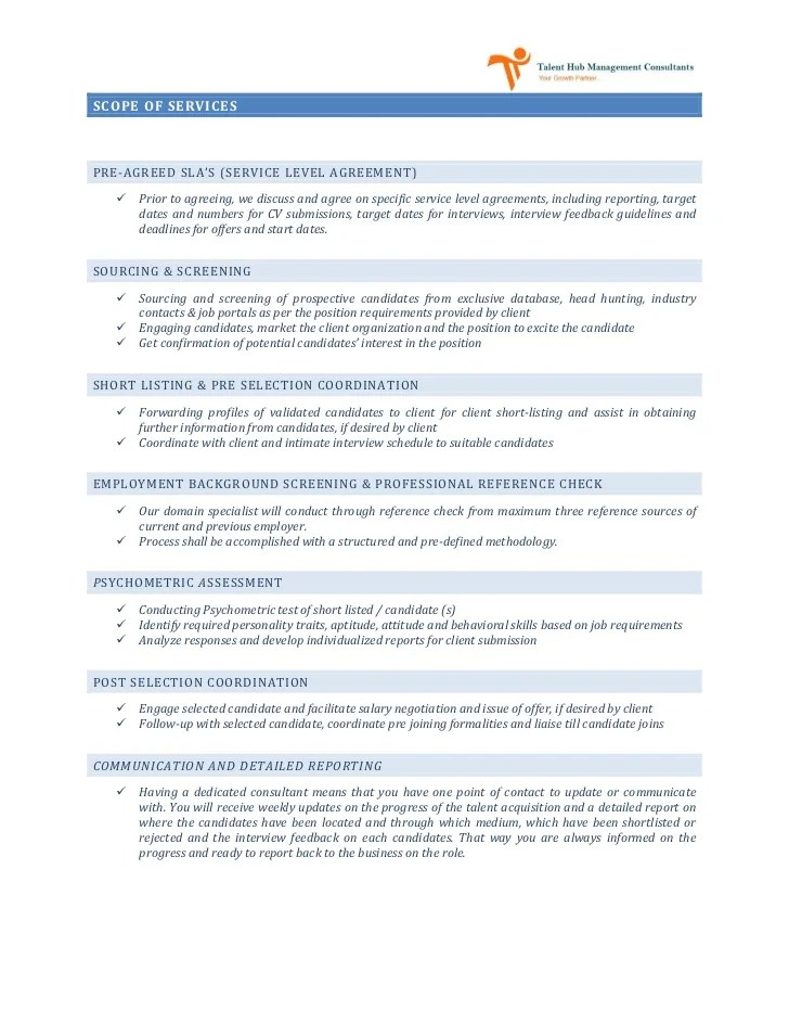 Service Level Agreement Template Recruitment  Writing A Cv Key