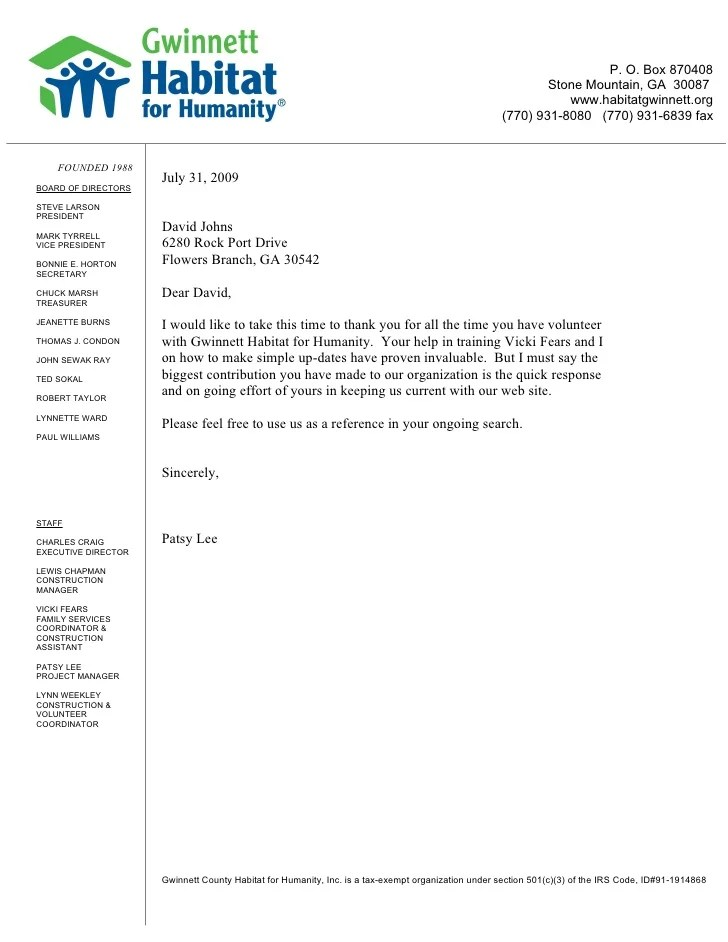 student recommendation letter for volunteer work writing student recommendation letter reference letter habitat for humanity