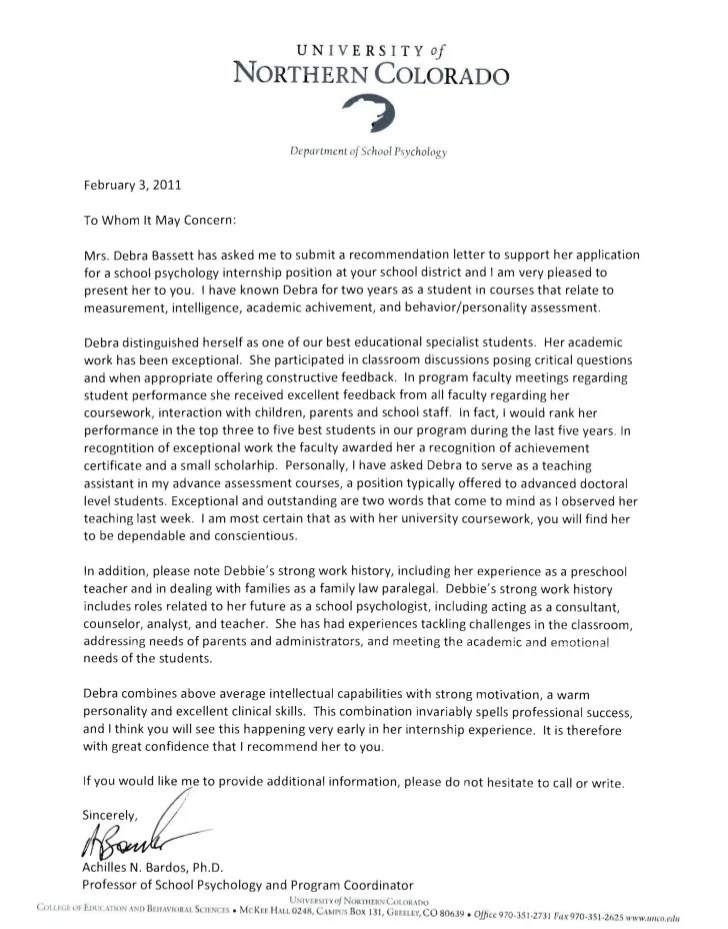 intern recommendation letter sample - Trisamoorddiner