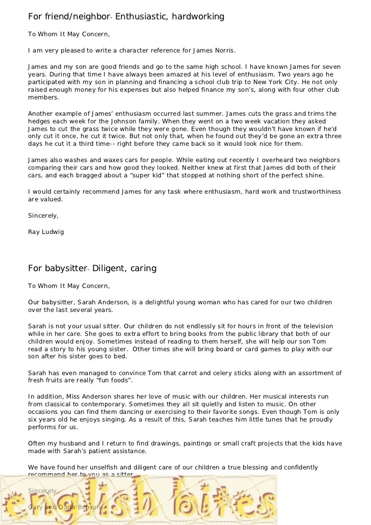At Your Business Reference Letter Template