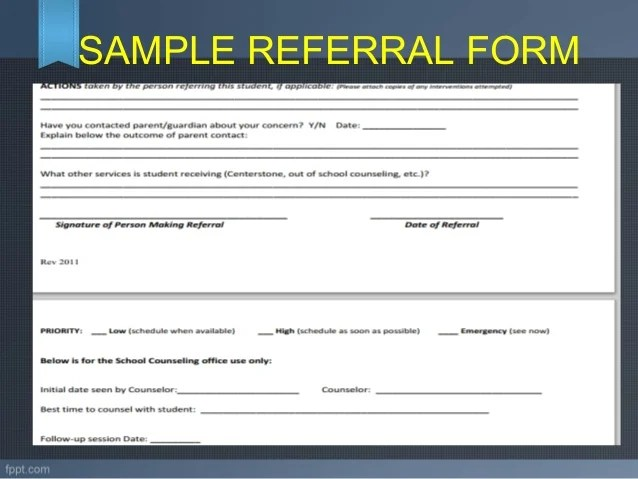 school counselor referral form - Hunthankk - office referral form