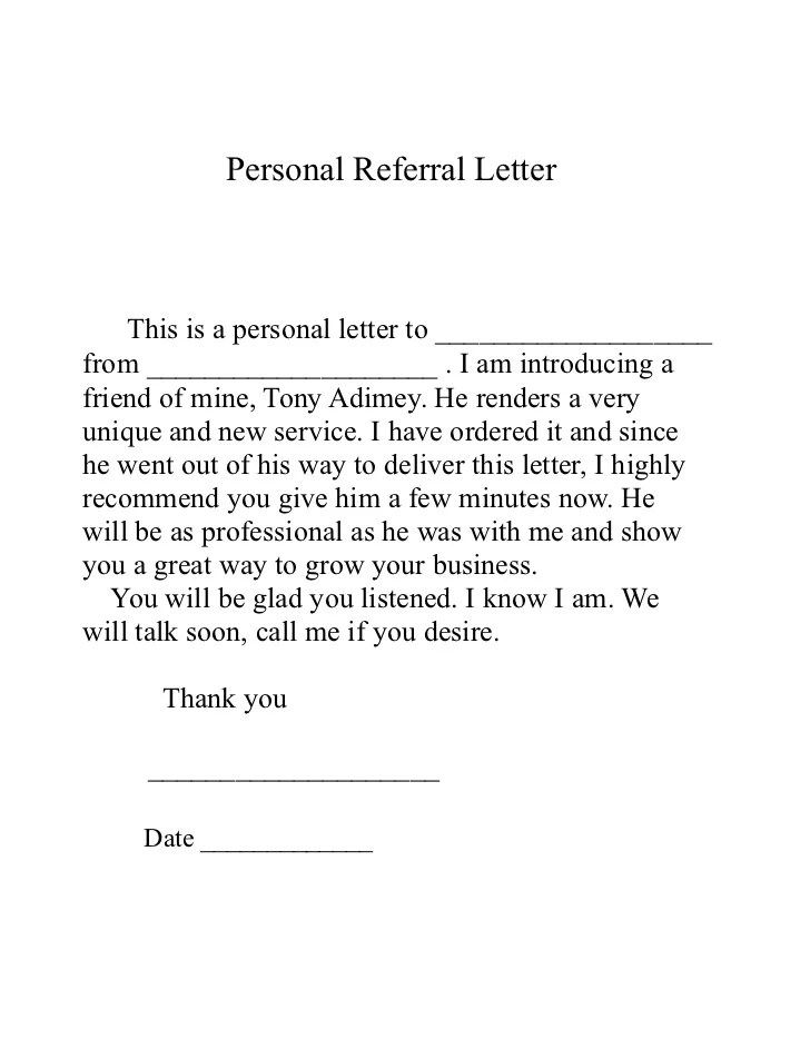 Referral Cover Letter