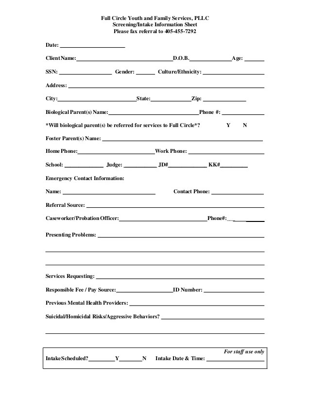 medical intake forms template