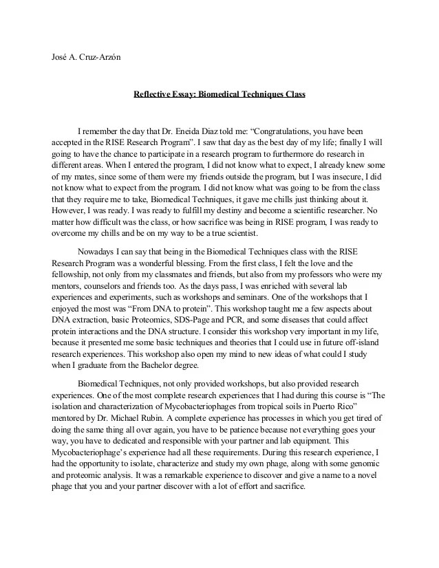 personal reflective essays examples