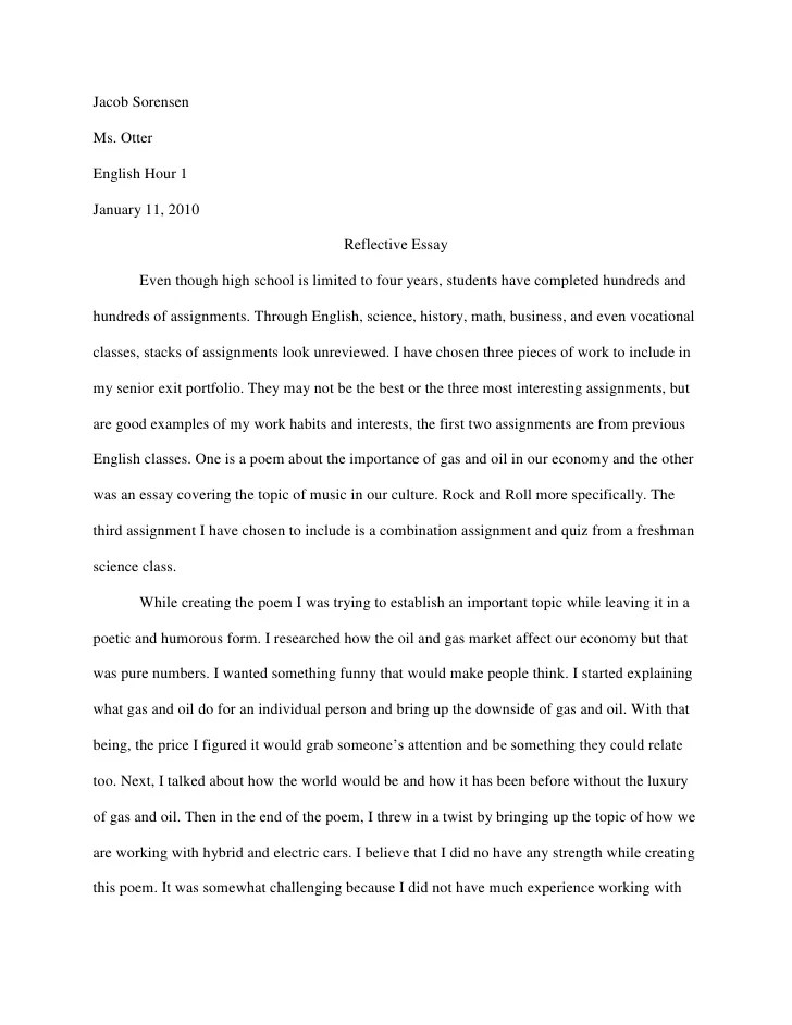 A Modest Proposal Ideas For Essays English Reflective Essay Example  Paper Written By Freud Sample Essays For High School also Essay Writing High School Reflective Essay Personal Reflective Essay Higher English  Thesis In A Essay