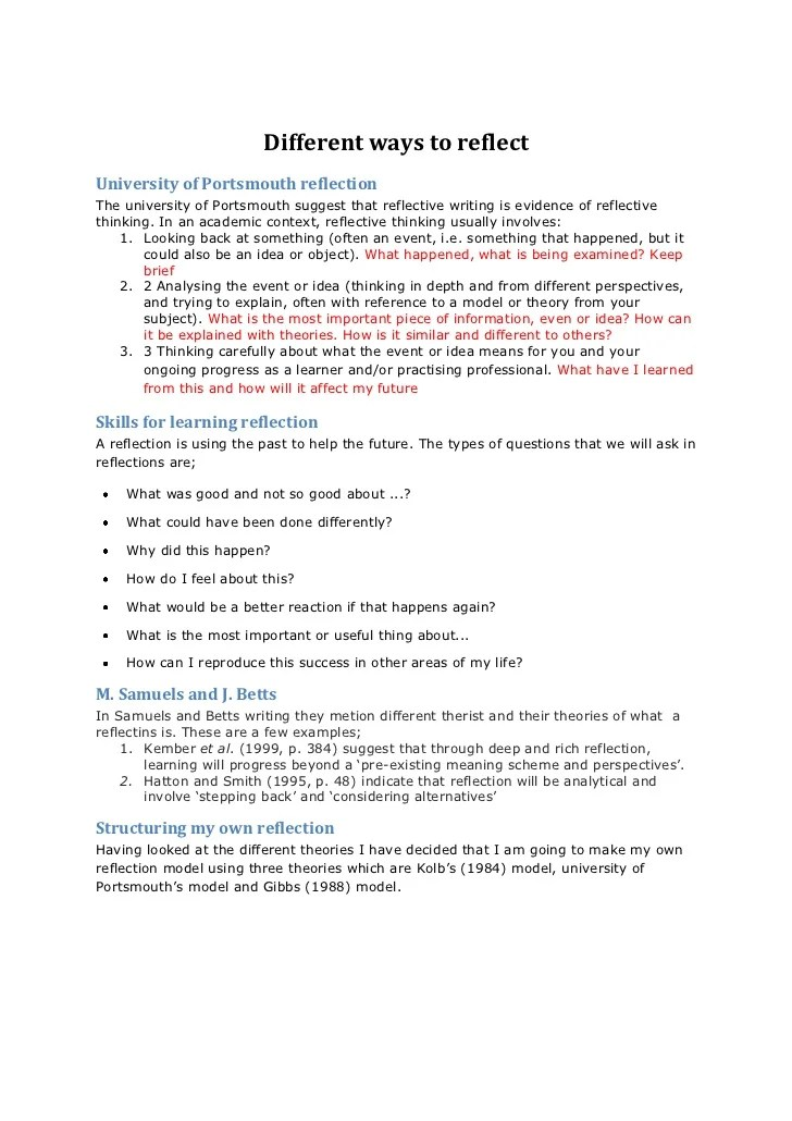 reflective essay example on writing