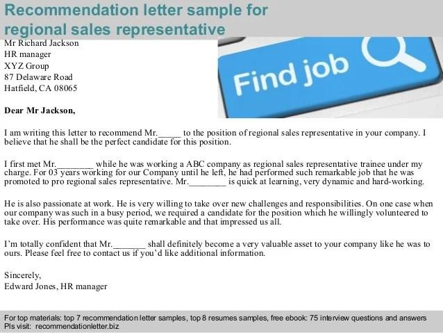 recommendation letter for sales representative - Josemulinohouse - regional sales representative sample resume