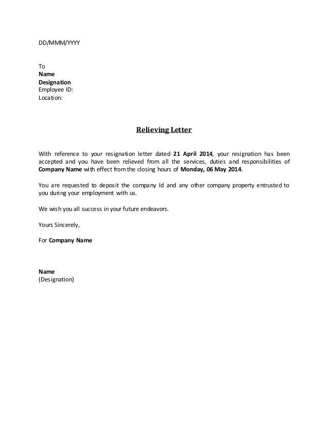 Work Experience Letter For Administrator Semioffice Relieving Letter Fill