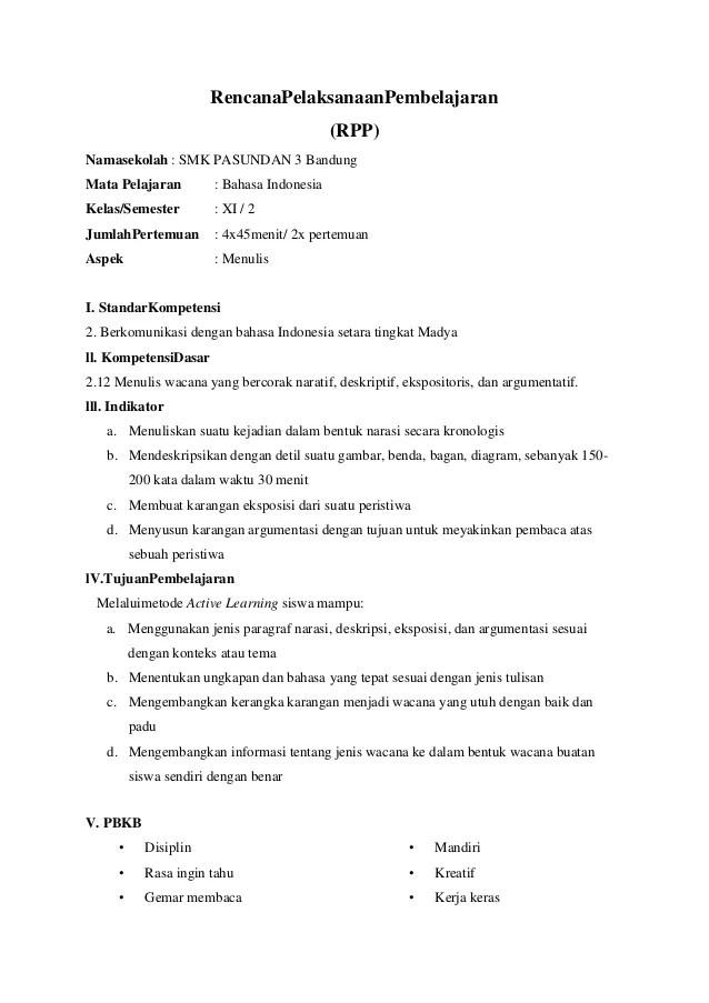 Rpp Bahasa Indonesia Semester 2 Rpp Bahasa Indonesia Kelas 4 Semester 2 Scribd Rppnamasekolah Smk Pasundan 3 Bandungmata Pelajaran Bahasa