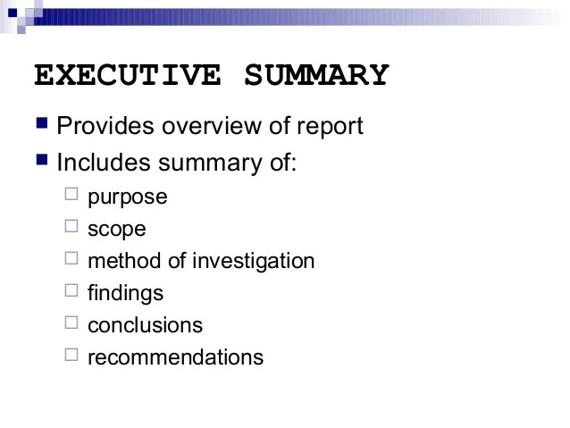 Report Writing Executive Summary And Other Sections