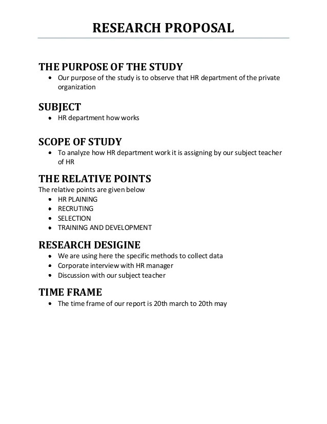 Research design in research proposal