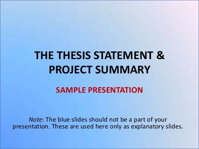 Thesis only phd summary sample