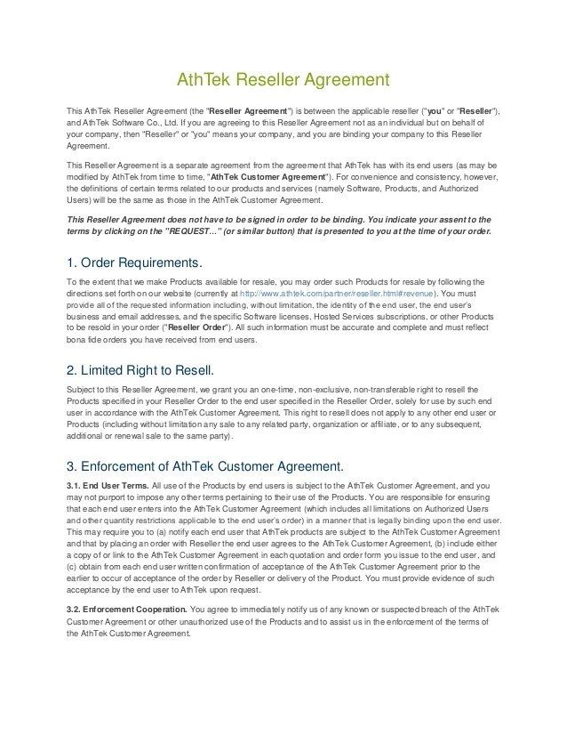 End User Agreement Template - Eliolera - sample reseller agreement template