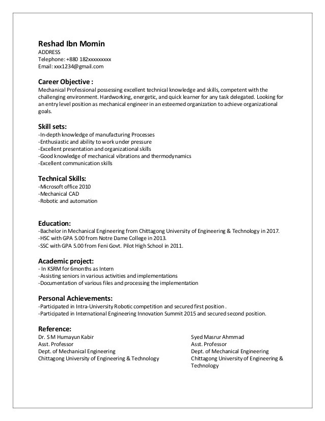 mechanical engineer entry level resume samples
