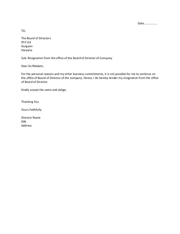Printable Sample Letter Of Resignation Form. Sample Relocation