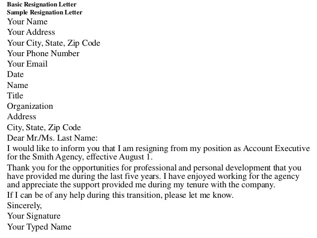 Resignation Letter Sample Resignation Letter