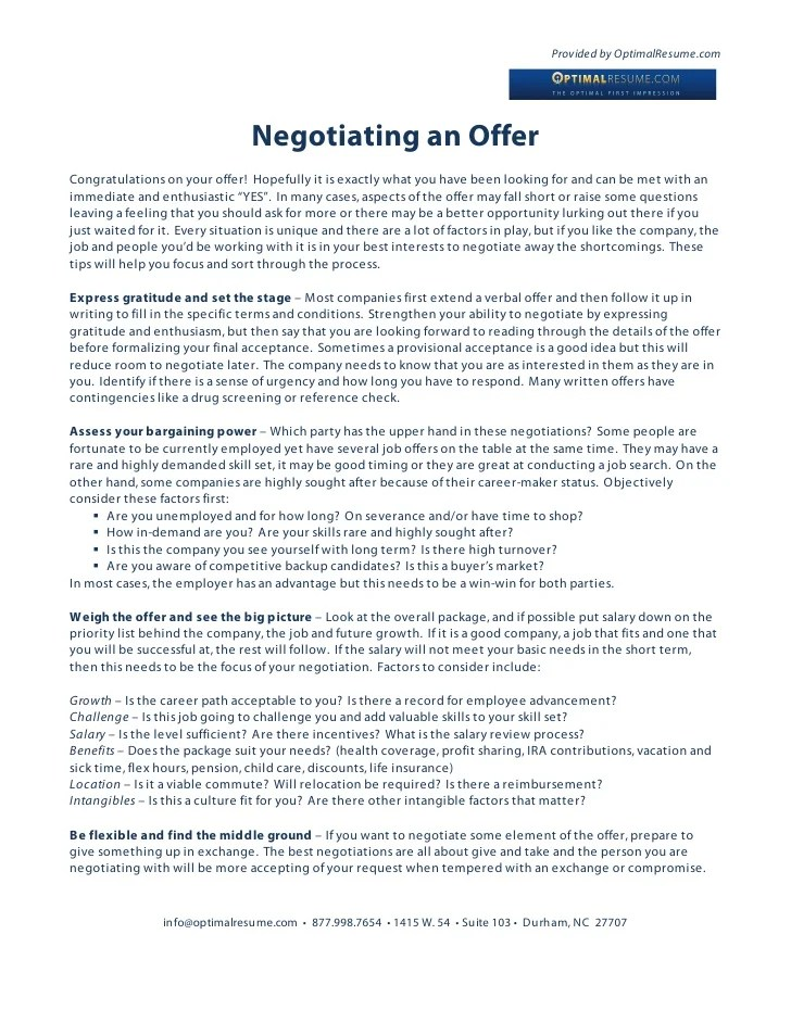 how to negotiate offer