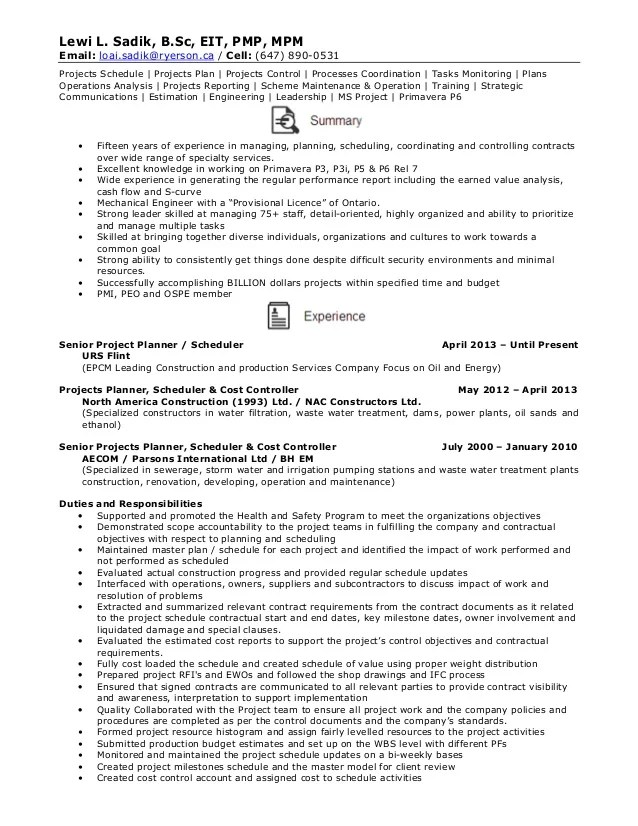 planner and scheduler resume sample