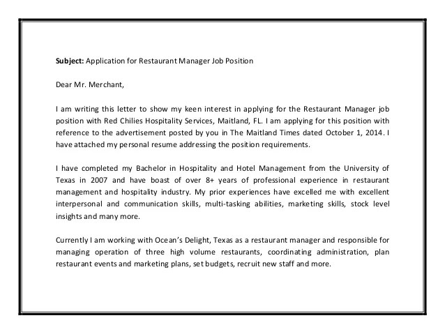 sample manager cover letters