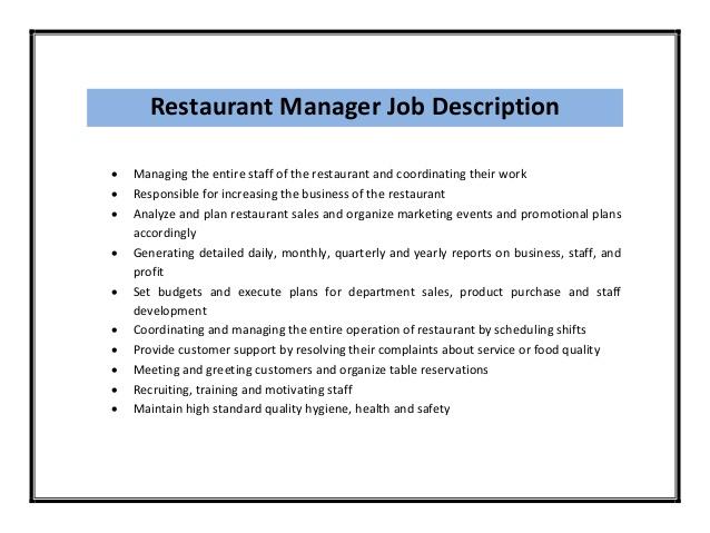 Resume Job Description Restaurant Manager | Five Resume Tips For