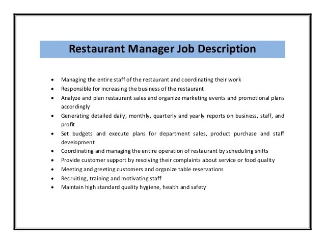 kitchen manager resume job description kitchen manager job description