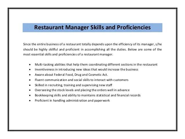 restaurants manager job description - Akbagreenw