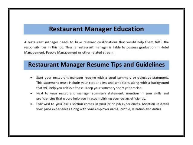 restaurant manager responsibilities resumes - zrom