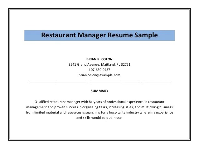 examples of restaurant manager resumes - Goalgoodwinmetals
