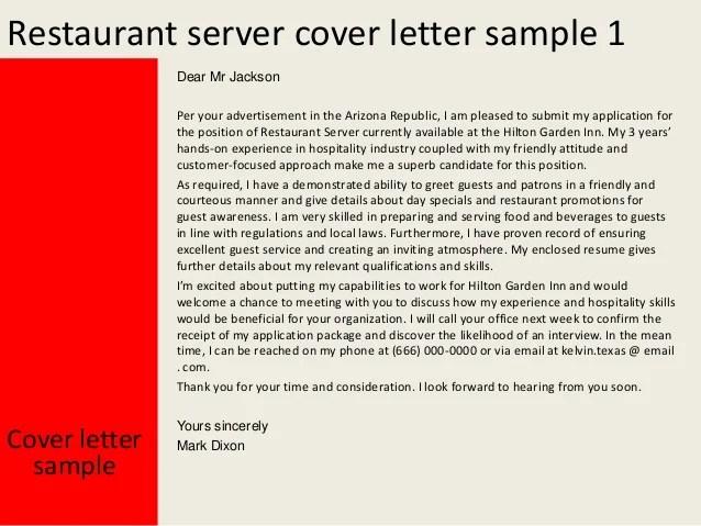 sample cover letter for restaurant server - Onwebioinnovate