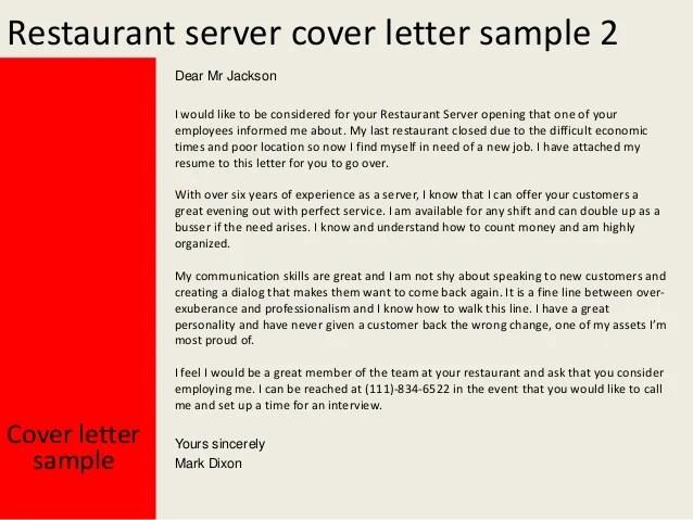 How To Start Your Cover Letter Monster Restaurant Server Cover Letter