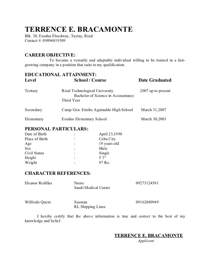 Resume Sample Format For Call Center Agent | Resignation Letter ...