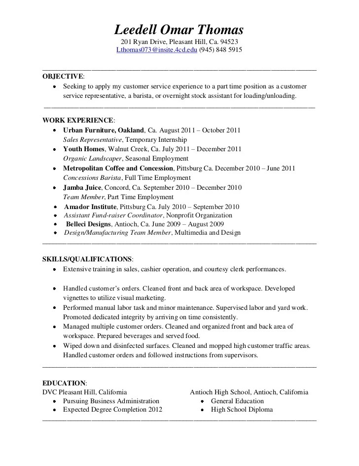 barista resume examples