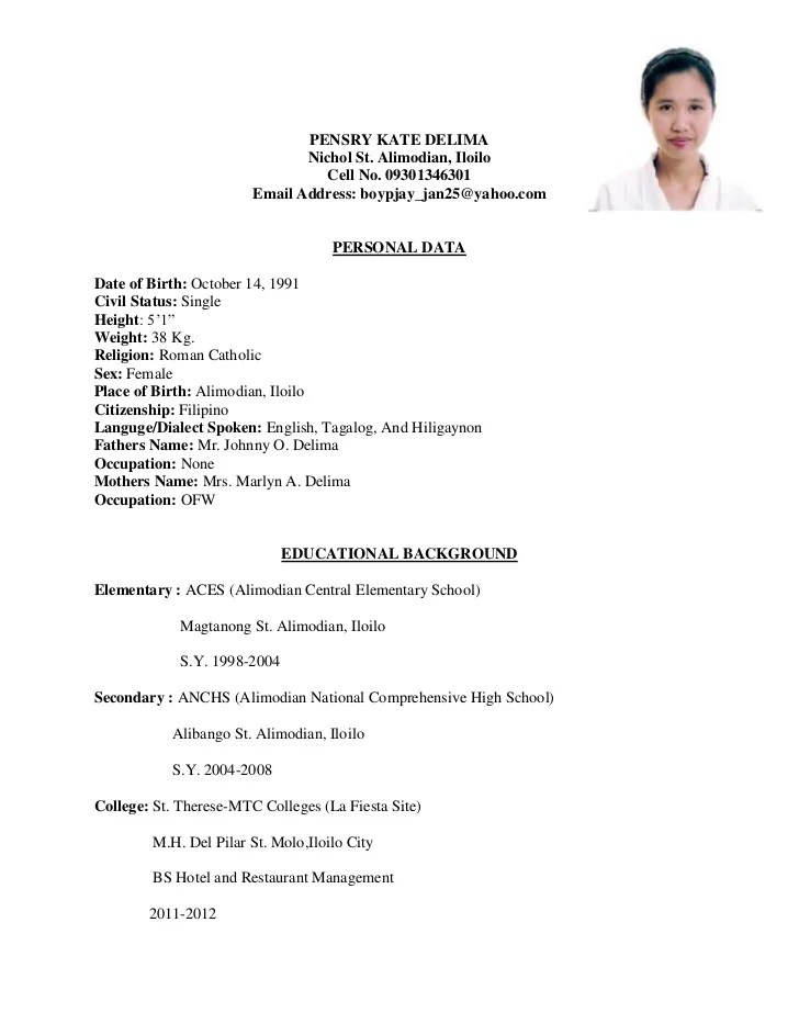 resume for students philippines free sample resumes templates resume for students philippines free sample resumes templates - Example Of Resume For Job Application