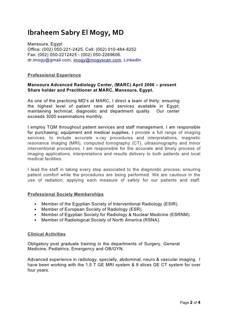 radiologist resume - Ozilalmanoof