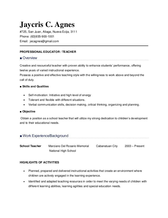 sample resume for teacher applicant - Doritmercatodos