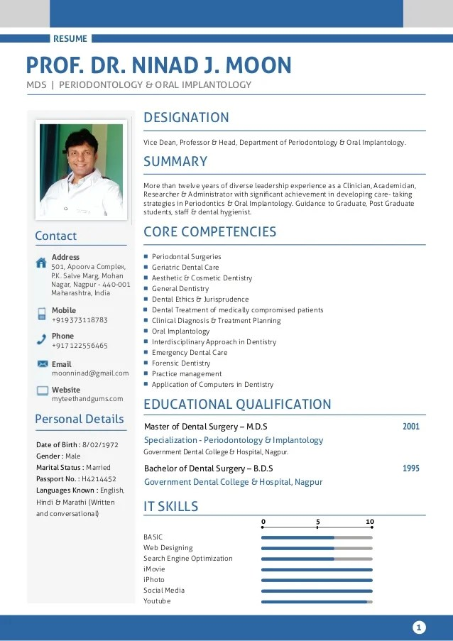 template cv dentist