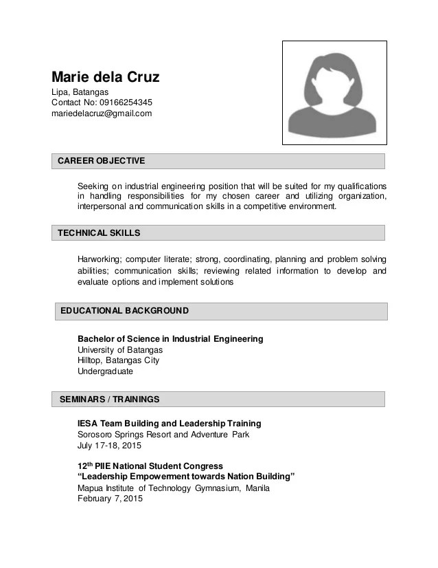 Resume Industrial Engineer Slideshare Ebook Database