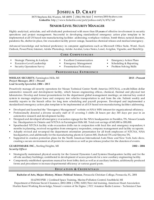 security manager resumes - Hacisaecsa