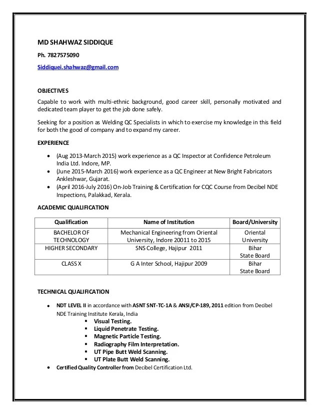 resume examples qc