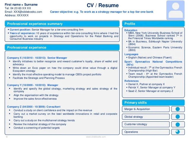 Powerpoint Presentation Resume Cv Templates In Editable Powerpoint